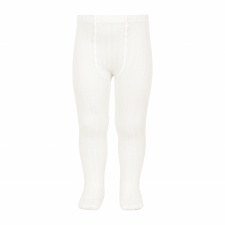 CONDOR wide-rib basic tights, cream