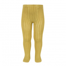 CONDOR wide-rib basic tights, mustard