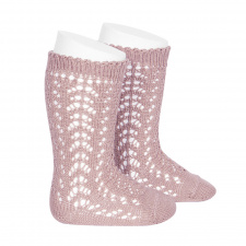 CONDOR wide ribbed knee-high socks, pale pink