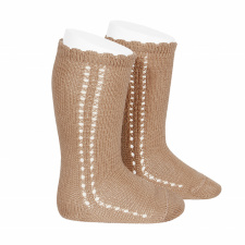 CONDOR wide ribbed knee-high socks, camel