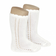 CONDOR wide ribbed knee-high socks, cream