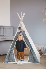 Mini Camp play tent teepee off-white/dark