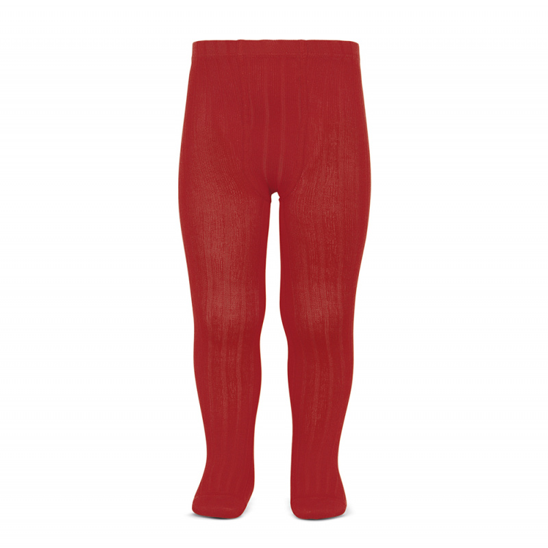 CONDOR wide-rib basic tights, red