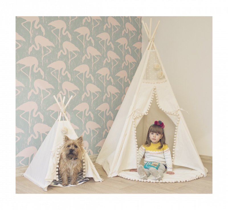 MĖta Home Mini Camp Play Tent Teepee Off White With Mat